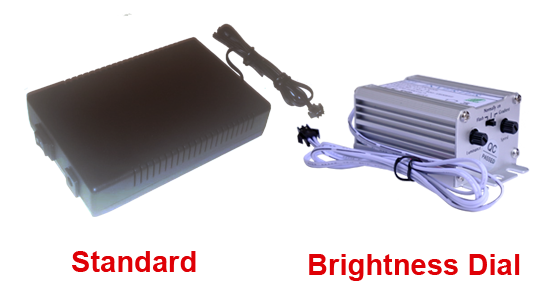 image show the difference between the 50 Metre Excel 12v Driver for 15-50m EL Wire standard and Brighness options