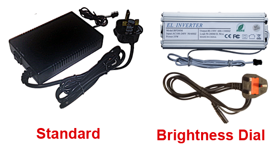 image showing the difference between the standard option and the brightness dial option on the Excel Mains Driver for 50-200m EL Wire