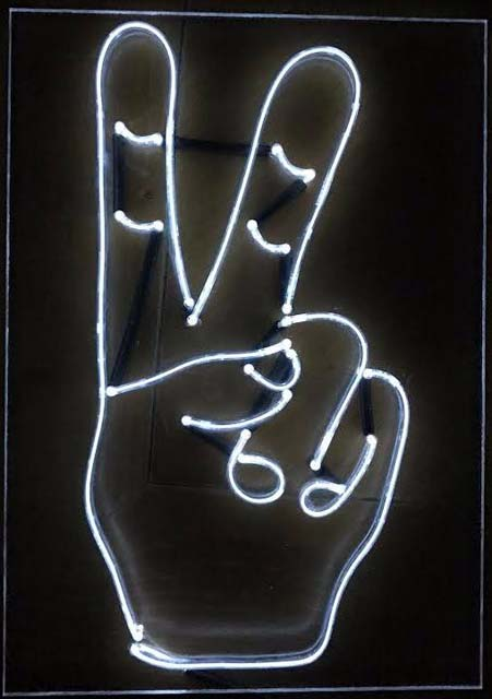 victory sign in faux neon, el wire