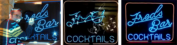 stage by stage images of Flashing Frog designs building a cocktail bars sign with EL Wire