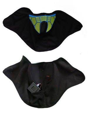 glowing and flashing sound activated mask great for parties or festivals