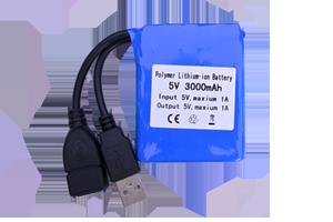 3000 mAh Li-ion Rechargeable battery, input and output via USB port