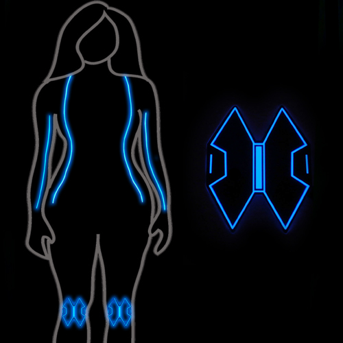 black widow glow torso legs kneepads el panel