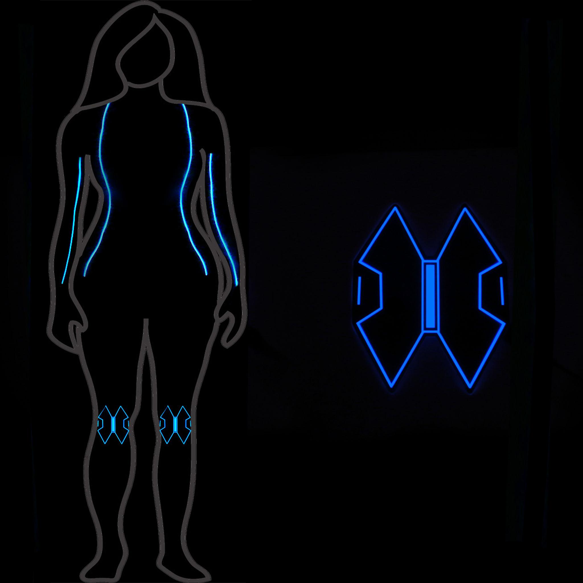 black widow glow body legsknee pads el panel