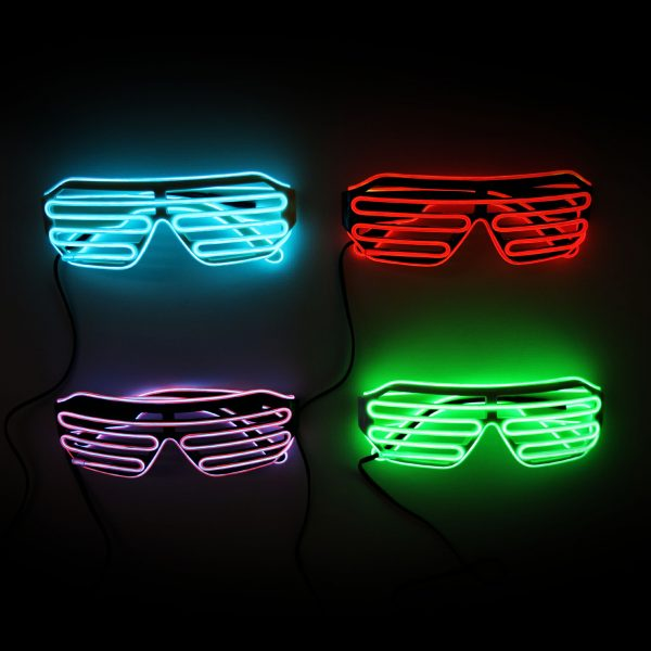 glow el shutter glasses on black or white with one el wire colour