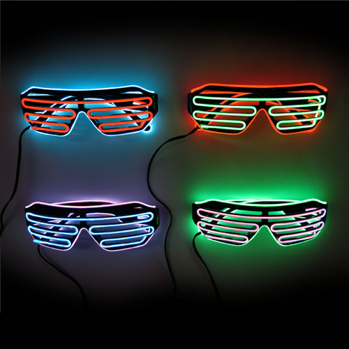 glow el shutter glasses in black or white with dual colour wires