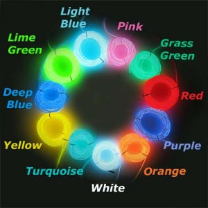2.3mm 10meter el wire colour chart with 11 colours