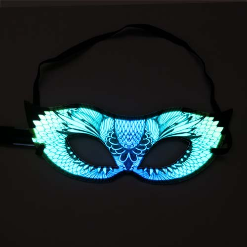 Glowing party or festival mask in green