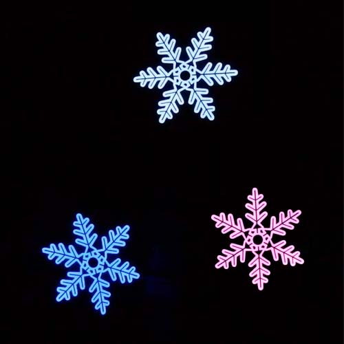 EL snowflake shape panels in white, blue and pink