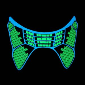 el glowing equalizer mask with sound activated motion