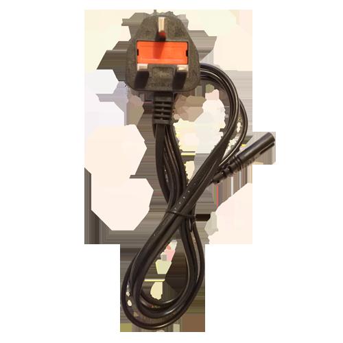 figure of 8 power lead with UK Plug IEC C7