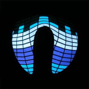 blue white glowing sound activated equaliszer mask