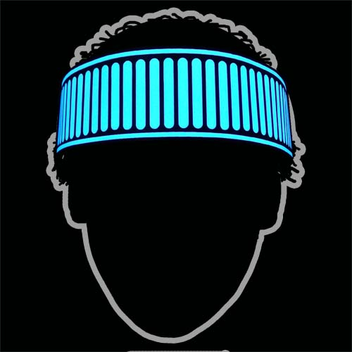 glowing blue sound activated el headband