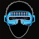 Glowing Blue Party Robot Visor