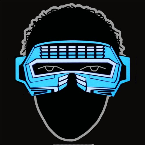 Glowing blue and white robot style sound activated electroluminescent mask - el panel