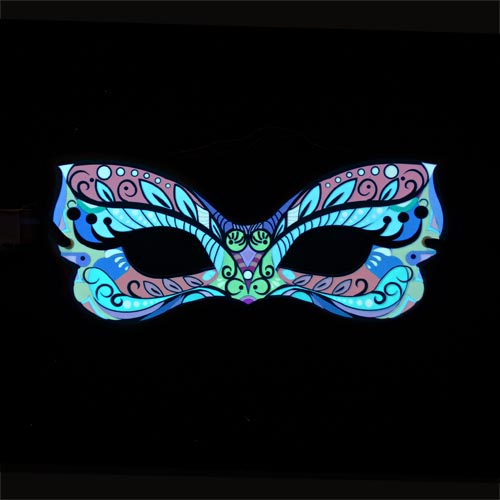 multicoloured glowing carvial party mask - el panel mask, masqurade and venetian style