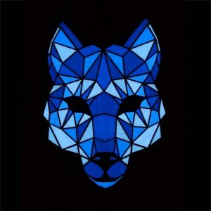 Glowing sound activated el panel mask in the style of an animal, dog, fox or wolf.