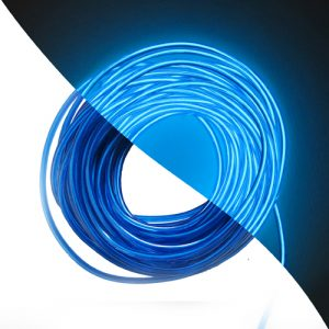 Deep Blue EL Wire lit and unlit
