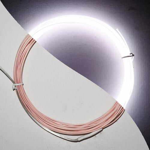 White fine el wire 1.0mm lit and unlit to demonstrate brightness and colour