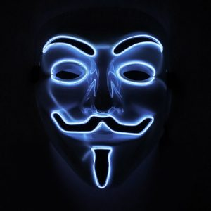 glowing and flashing el wire anonymous mask lit