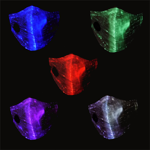 fibre optic surgical style mask with stunning colour change