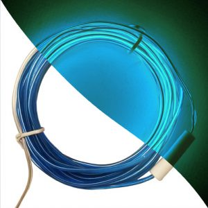 Stiff El Wire 2.3mm bendy and mould-able in blue on and off